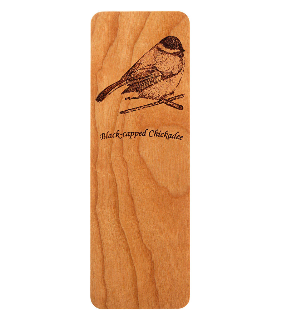 bookmark with black-capped chickadee