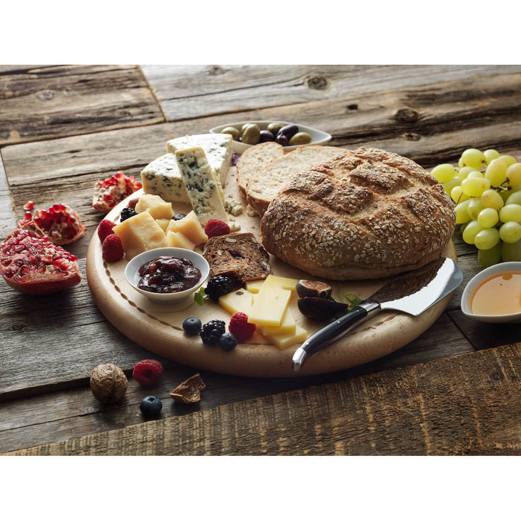 bread board with food from the side