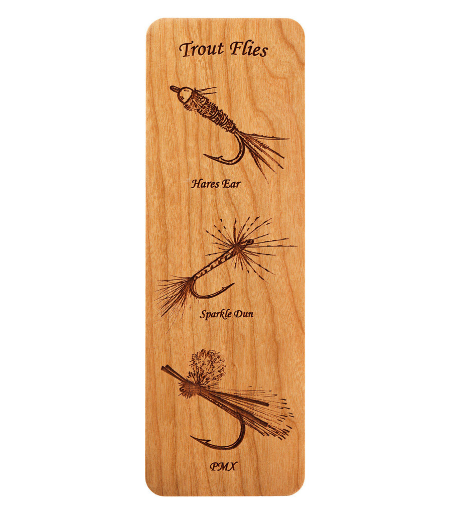 bookmark with fly fishing flies