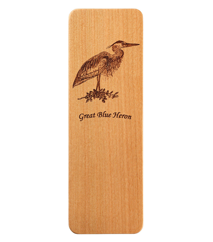 bookmark with great blue heron