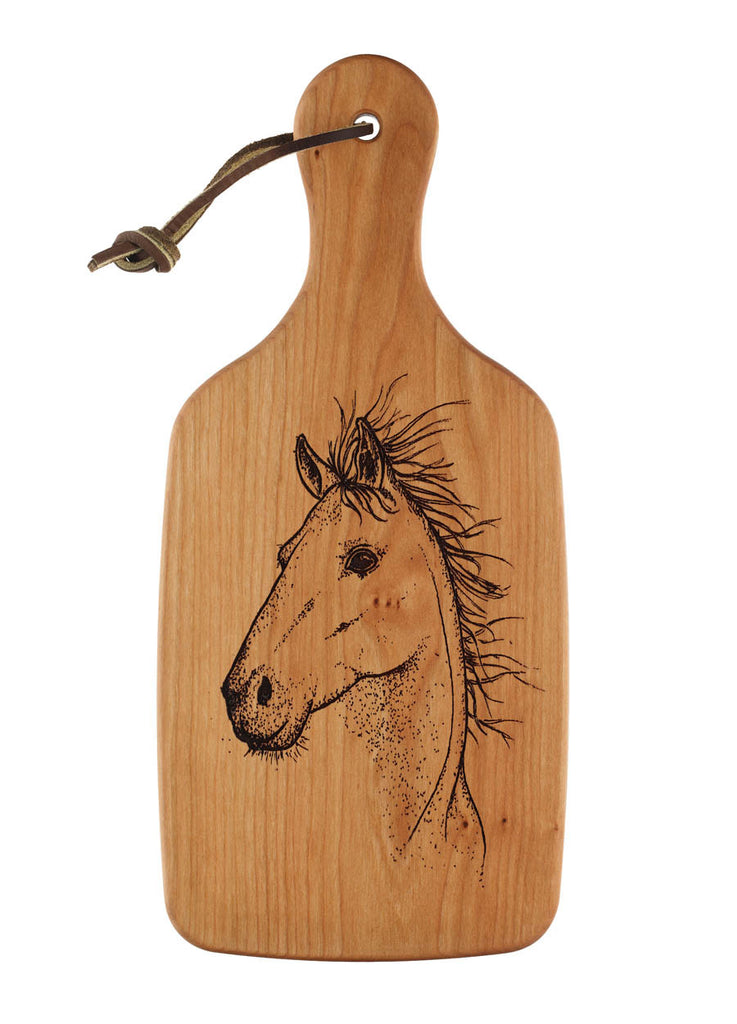 cutting board with engraved horse design