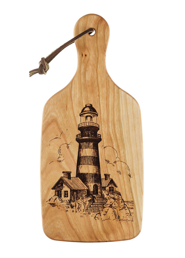 cutting board with engraved lighthouse design