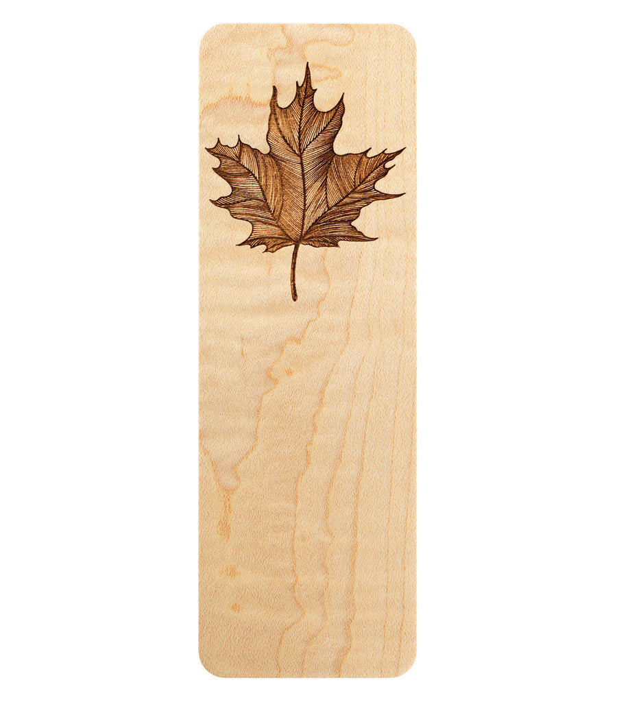 bookmark with maple leaf engraving