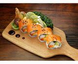 oak cutting and serving board with sushi