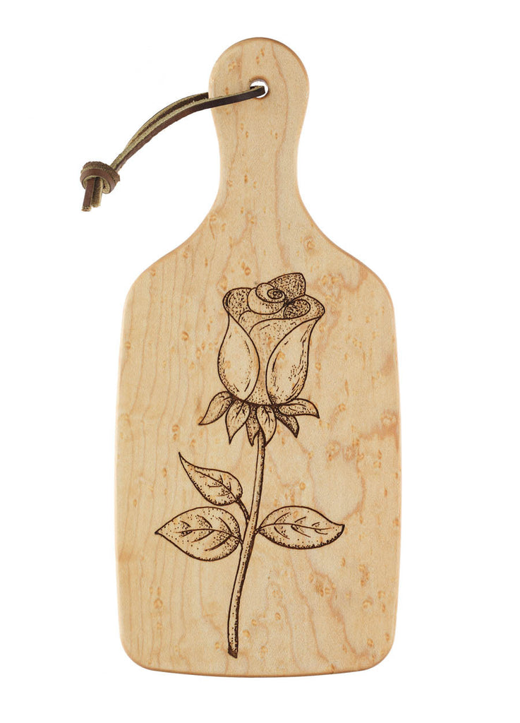 cutting board with engraved rose design