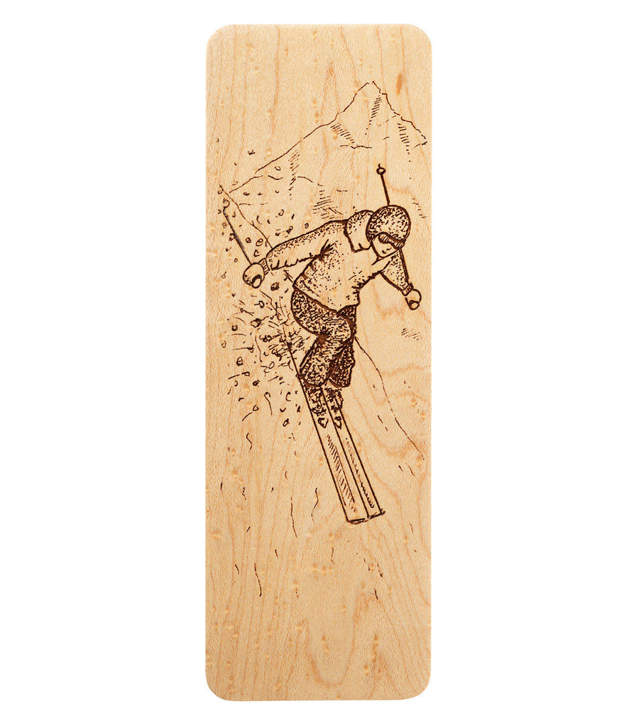 bookmark with design of a downhill skier
