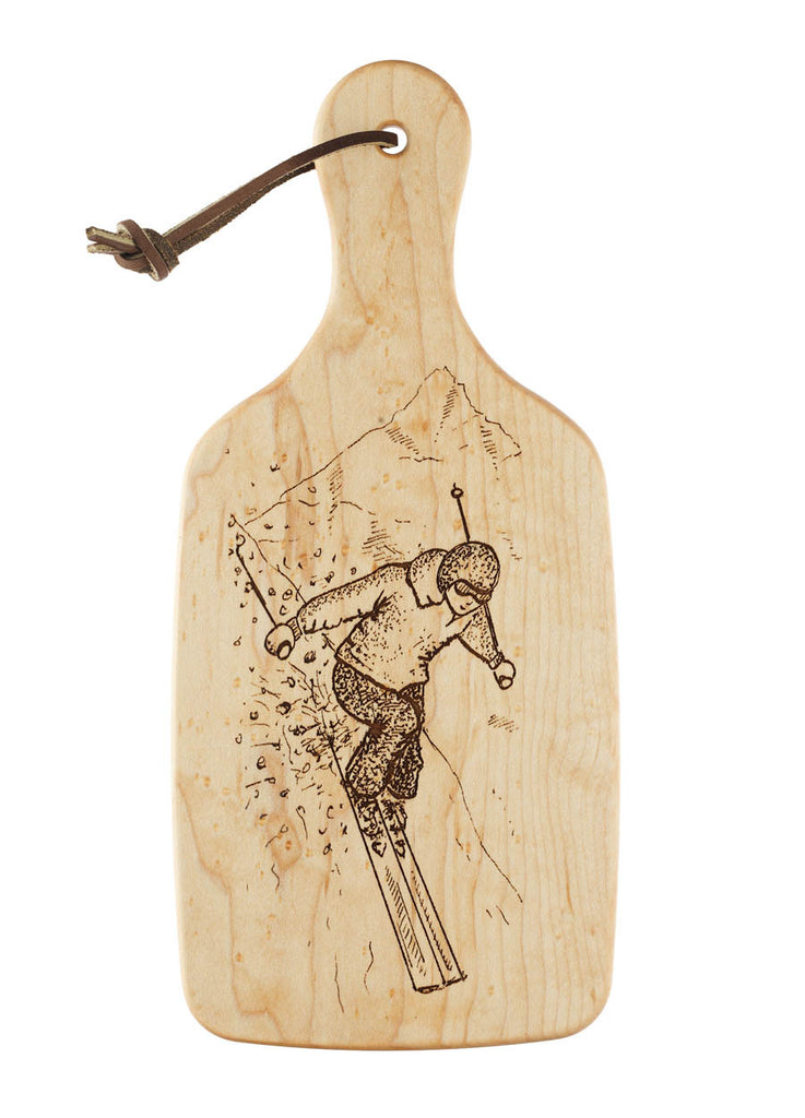 downhill skiing cutting board lodge decor