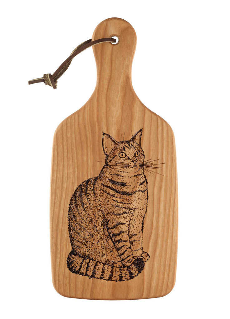 small cutting board with cat engraving