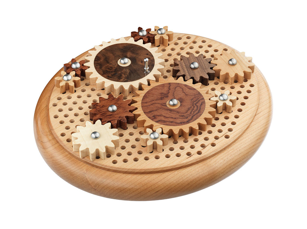 angle view of oval puzzle with wood gears