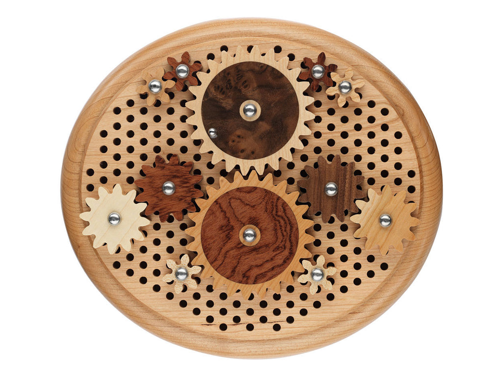 top view of oval puzzle with wood gears