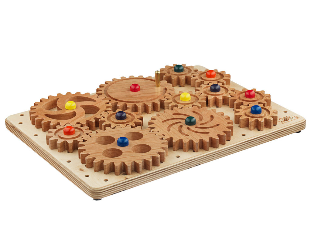 angle view of cogbox with wooden gears