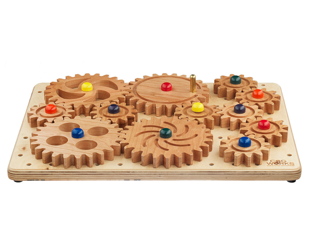 side view of mini puzzle with wooden gears