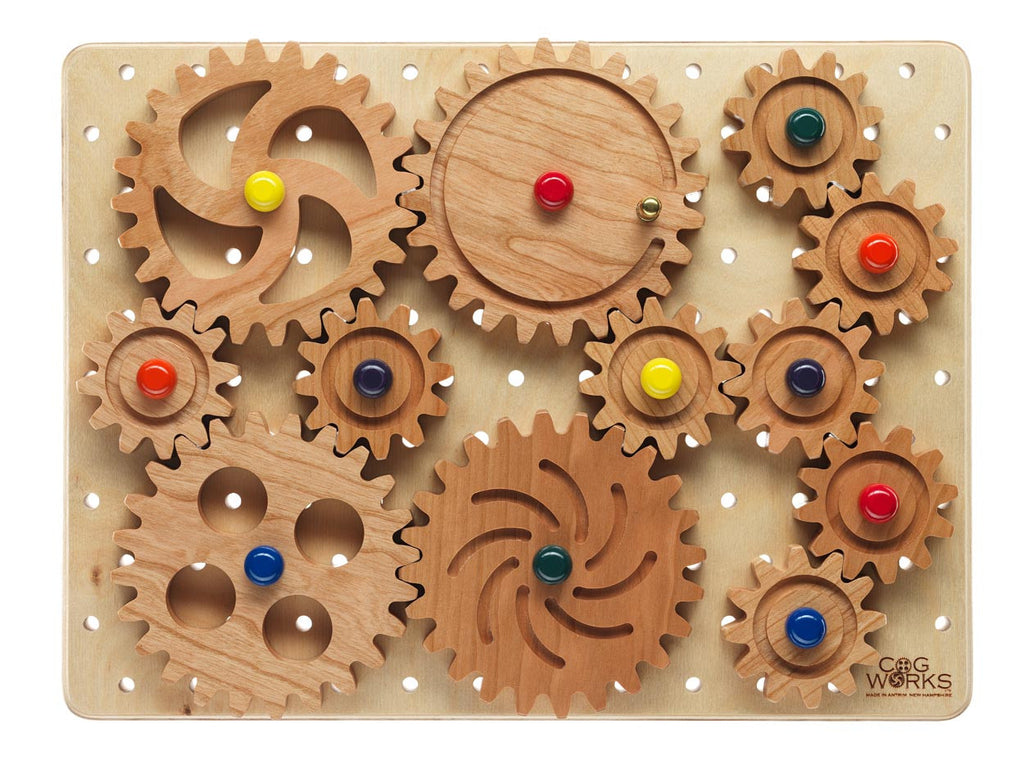 top view of cogbox with wooden gears