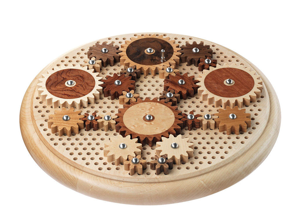 angle view of round puzzle with wooden gears