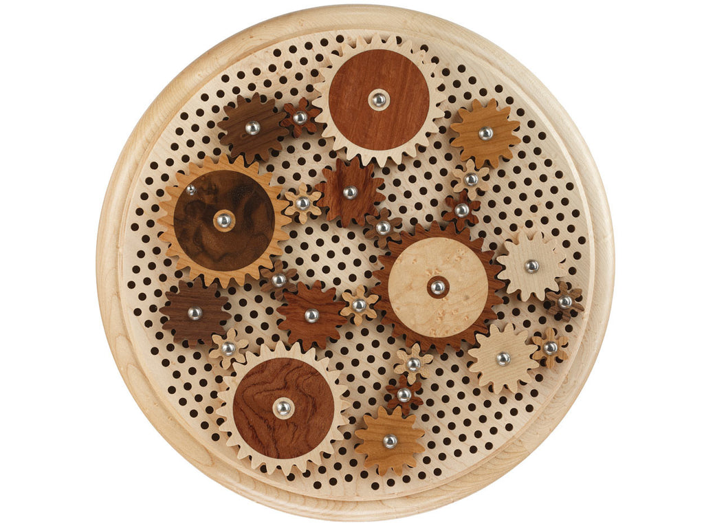 top view of round puzzle with wooden gears