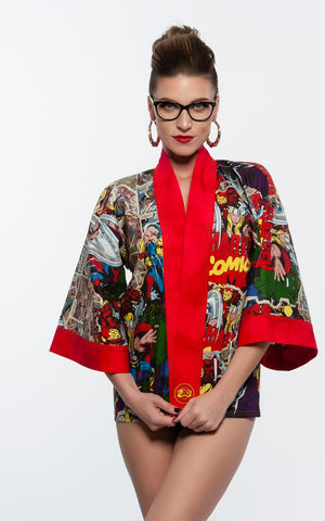 """Marvel Comics"" Kimono Hipster in Red"