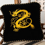 """Myth of the Dragon"" Black Velvet Pillow"