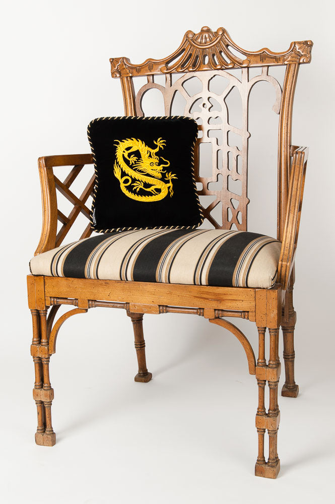 """Lore of the Dragon"" Black Velvet Pillow"