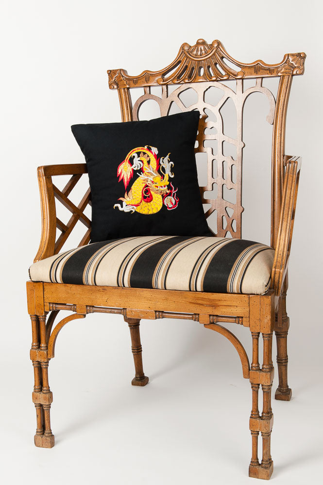"""Chinese Dragon"" Black Canvas Pillow"