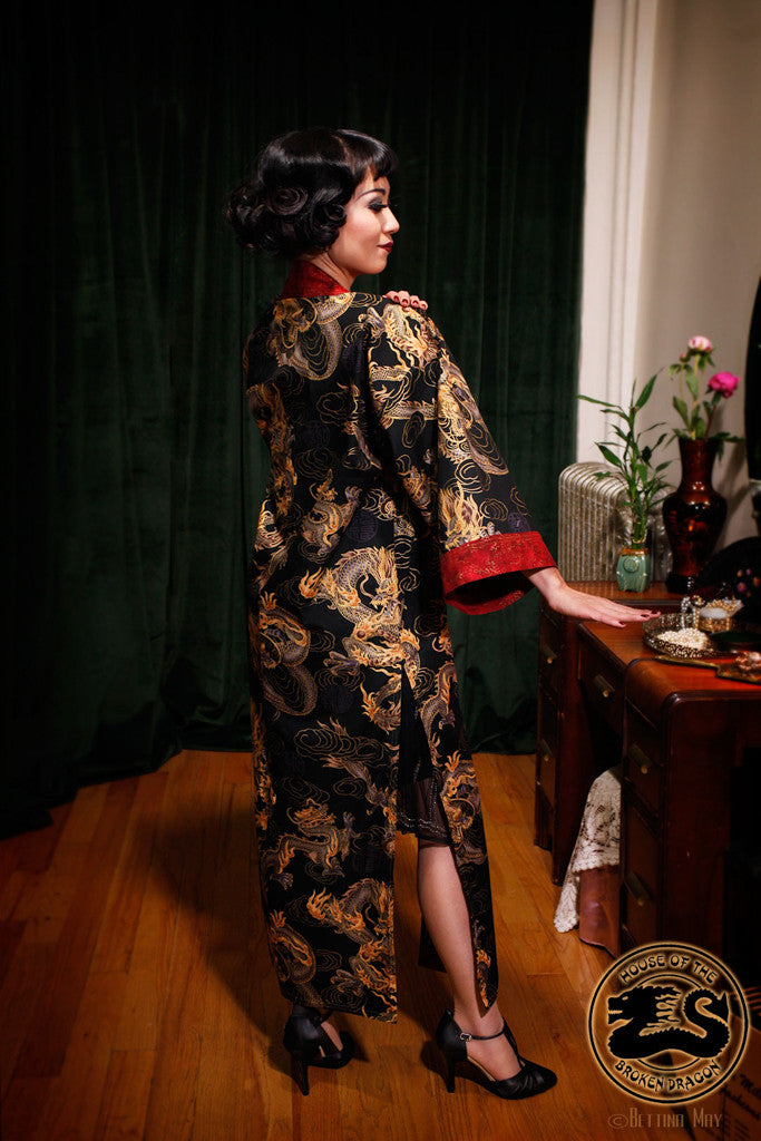 """Black Dragon"" Long Kimono Coat"