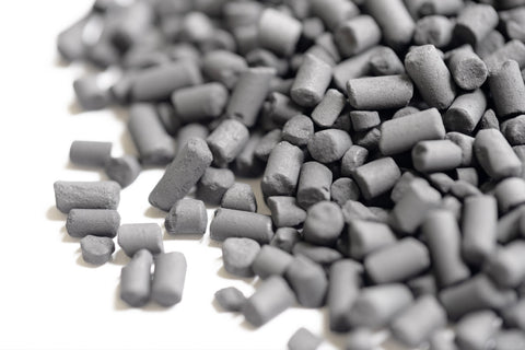Activated carbon pellets used in a HEPA air purifier filter
