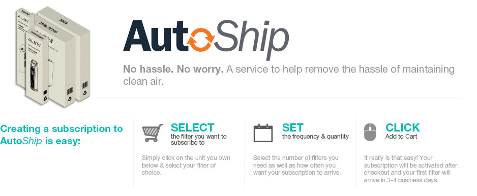 AutoShip. No hassle. No worry. A service to help remove the hassle of maintaining clean air.