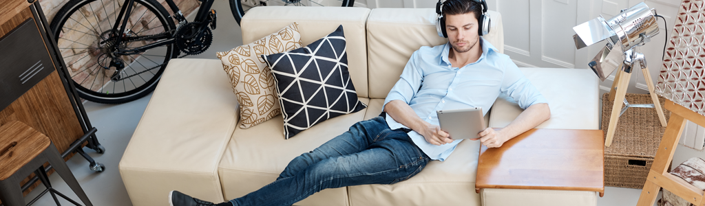 Man Relaxing with peaceful noise