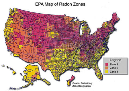 epa map of radon zones
