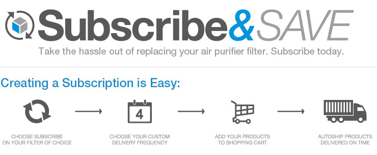 Subscribe and Save - Take the hassle out of replacing your air purifier filter. Join today.