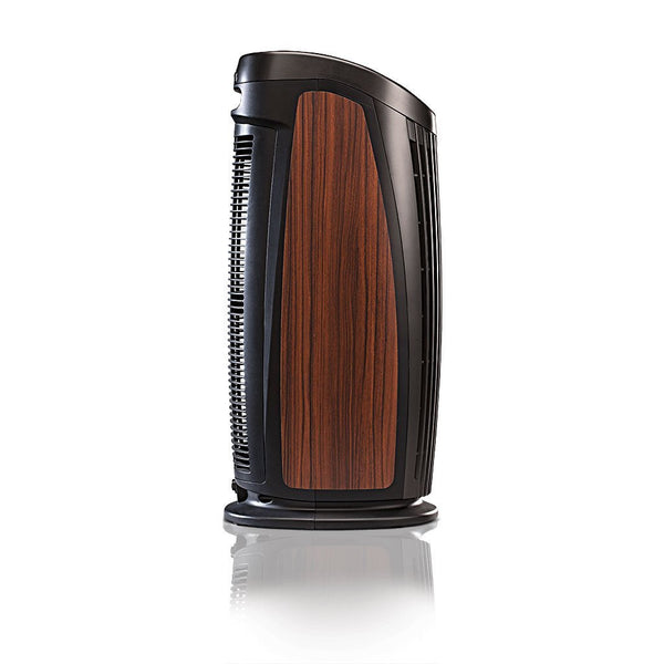 Alen T500 Tower Air Purifier For Asthma, Mold and Bacteria Black Rosewood Inlay Side