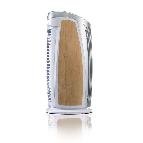 Alen T500 Tower Air Purifier For Asthma, Mold and Bacteria White Maple Inlay Side