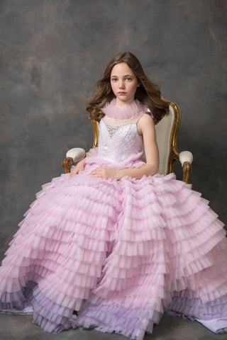 """Spring Jewel""... A Ruffled Ombre Gown"