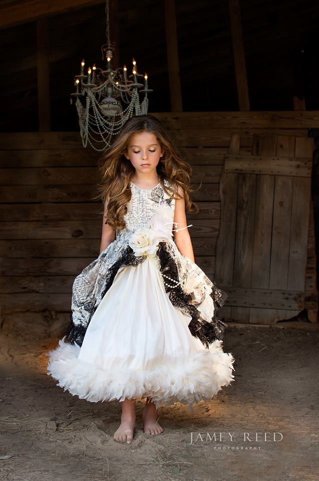 Sophia A Parisian Girls Formal Dress With Feathers