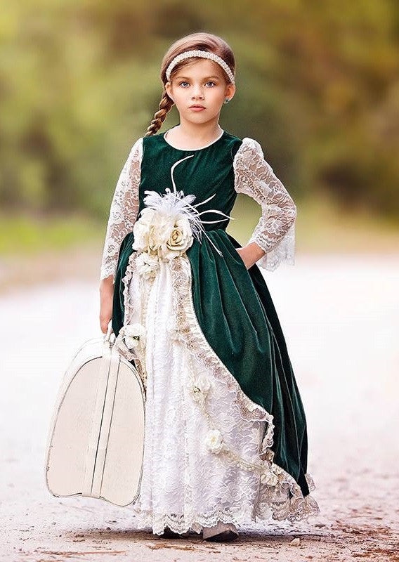 """Grace's Wish""... A Rich Jade Velvet Girls Ball Gown"