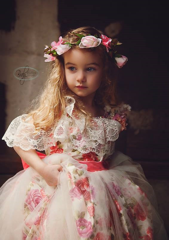 """Thoughts Of Jasmine""... A Beautiful Girls Lace Dress with Floral Print"