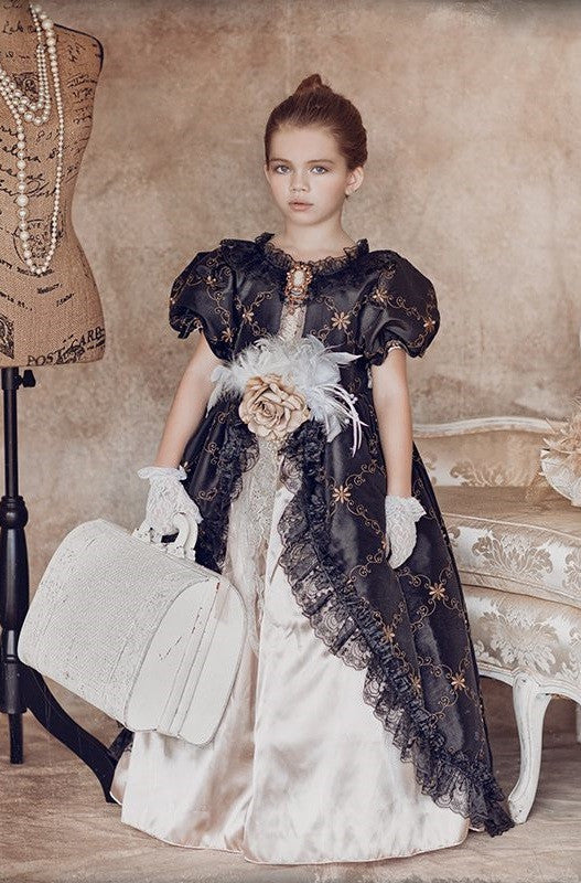 """Tour de Noir""... An Embroidered children's ball gown"