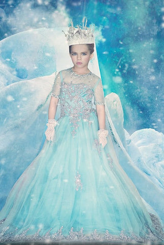 """Frozen Elegance""... An Exquisite Floor Length Pageant Dress. Perfect For Frozen Themed Celebrations!"