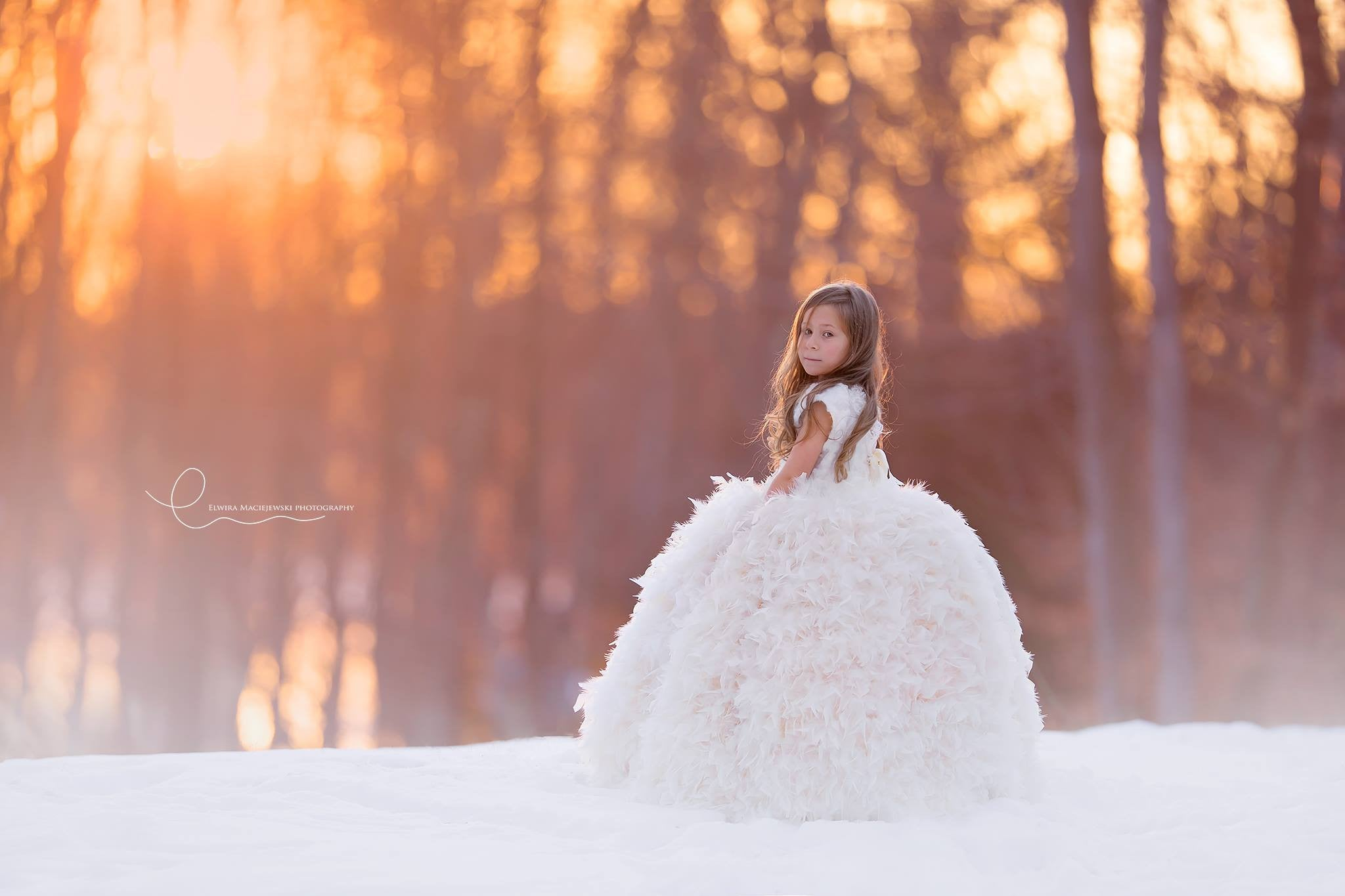 Angels And Snowflakes A Couture Flower Girl Dress Snow Flakes Formal Feather Gown