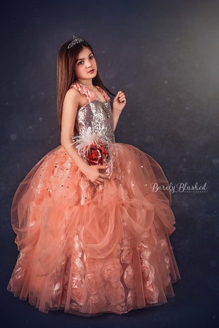 """Peach Cascade""... A Beautiful Special Occasion Gown"