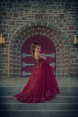 """Crimson Jewel""... An Unforgettable Princess Style Ball Gown"