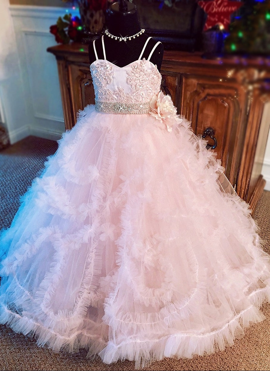 """Ruffled Kisses""... A Beautiful Tulle Formal Gown. Available in your color scheme!"
