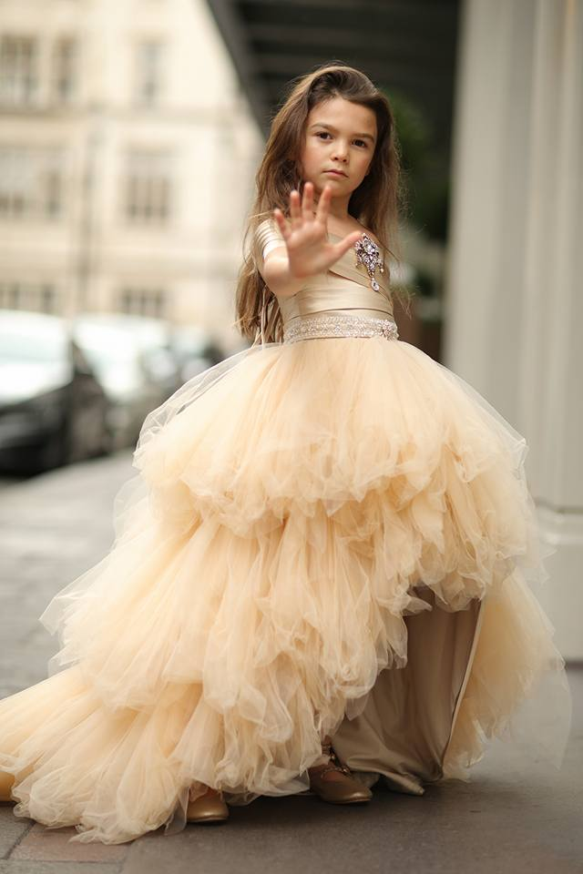 """Resilient Survivor""... An Exquisite High/Lo Couture Gown.  Worn by The Amazing Brooklynn Prince. Winner Of Best Young Performer at The Critics' Choice Awards for ""The Florida Project"""