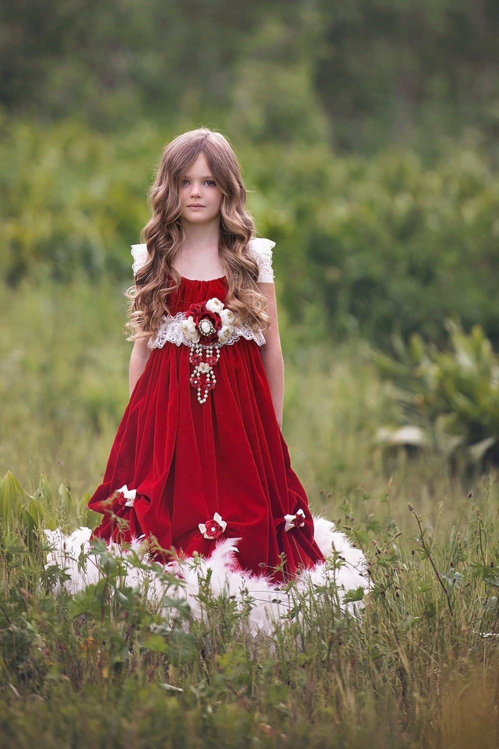 """Scarlett""... A Scrumptious Red Velvet Children's Ball Gown"