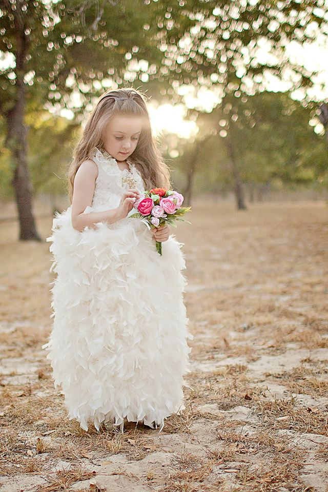 """The Kiss of Swan Lake""... A Beautiful Feather Flower Girl Gown"