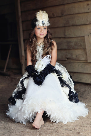 """Sophia""... An Exquisite Parisian Girls Formal Dress with Feathers"