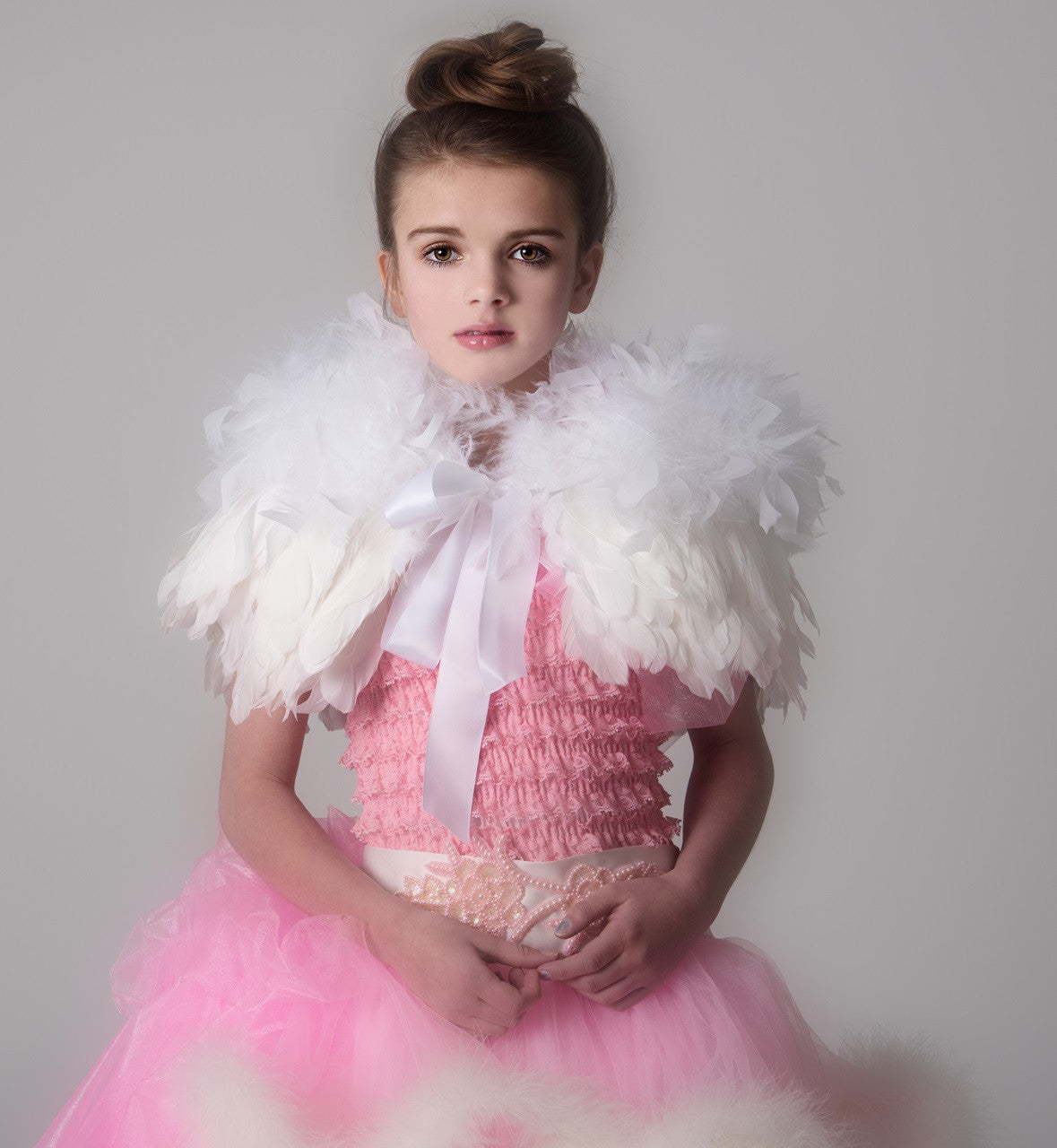 Couture White Feather Capelet - Children's Couture Clothing