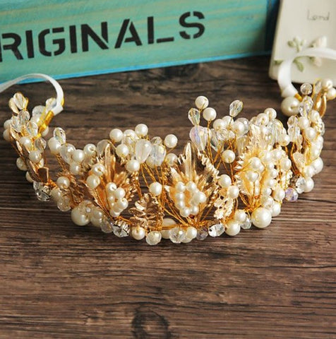 """The Laurel""... An Exquisite Couture Gold Encrusted Tiara/Crown"