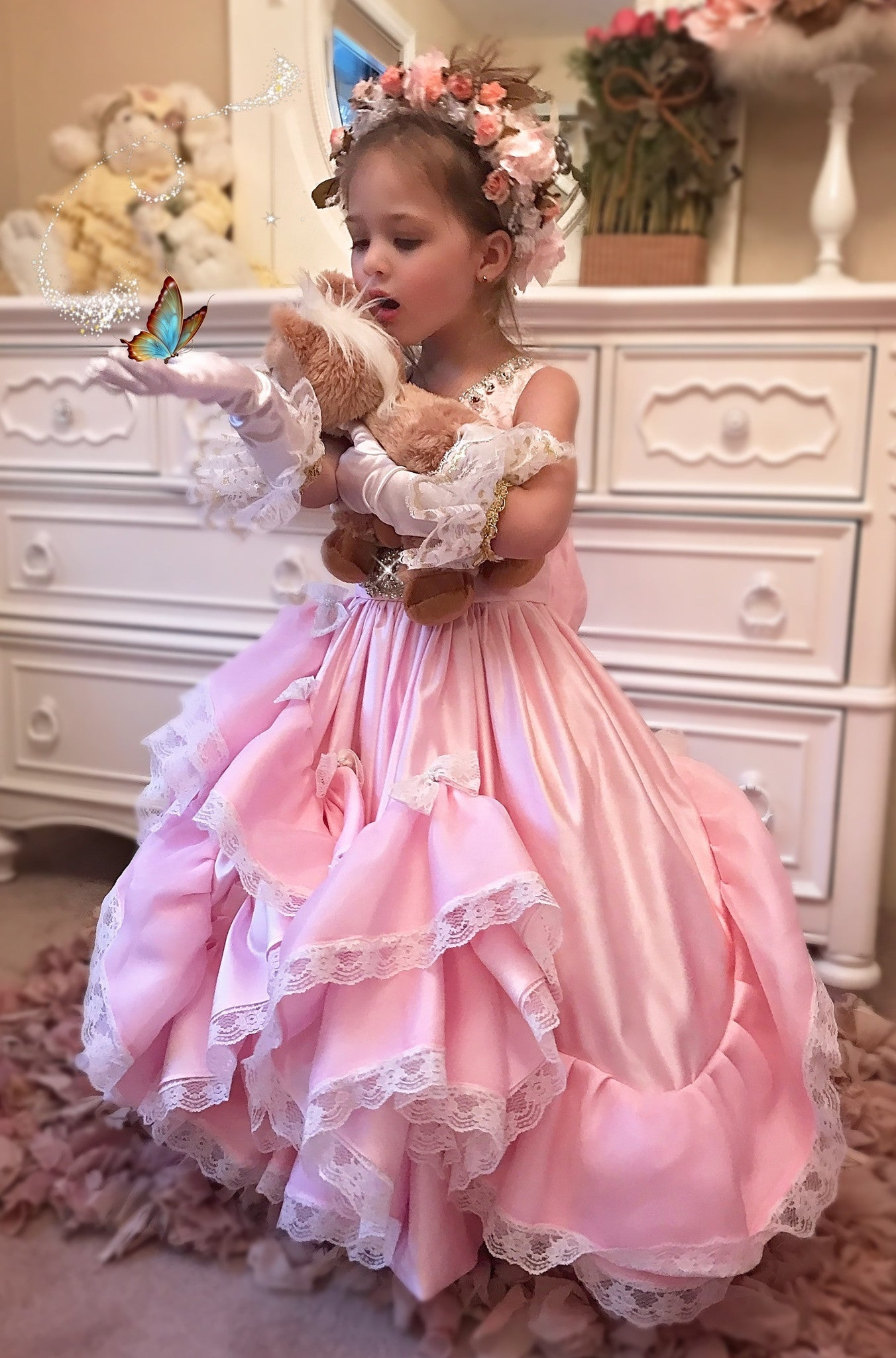 """Dreams Of Decadence""... A Beautiful One Of A Kind Flower Girl Dress"