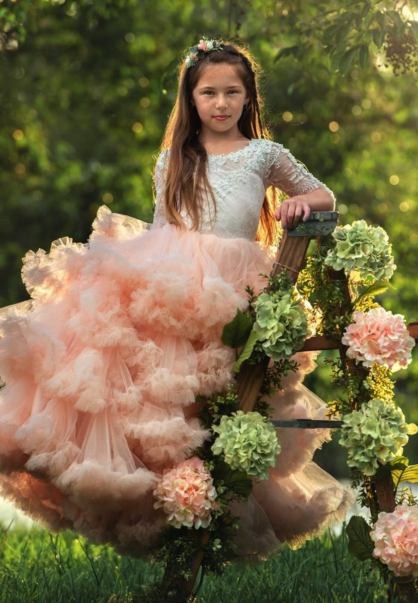 """Carefree Elegance""... An Exquisite Ruffled Flower Girl Dress"