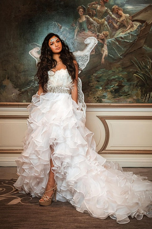 """The White Raven""... An Exquisite Organza Ballgown With Rooster Feather Bodice"